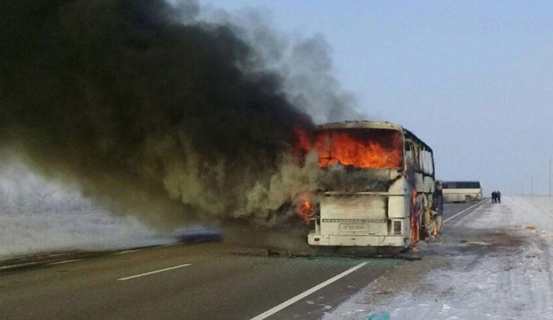 Қозоғистонда ёниб кетган автобус ҳайдовчилари қўлга олинди