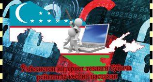 Ўзбекистон интернет тезлиги бўйича рейтингда кескин пастлади