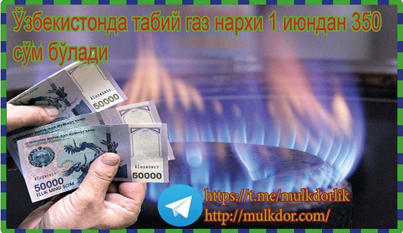 Ўзбекистонда табий газ нархи 1 июндан 350 сўм бўлади