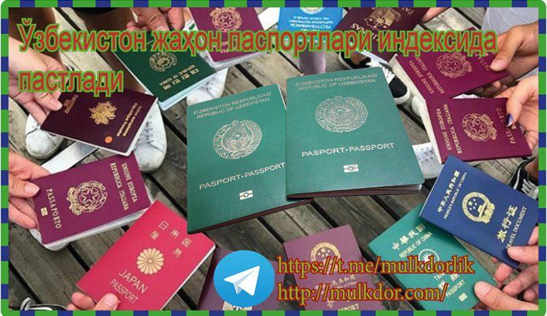 Ўзбекистон жаҳон паспортлари индексида пастлади