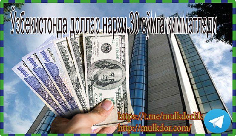 Ўзбекистонда доллар нархи 30 сўмга қимматлади