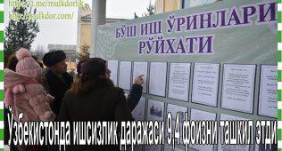 Ўзбекистонда ишсизлик даражаси 9,4 фоизни ташкил этди
