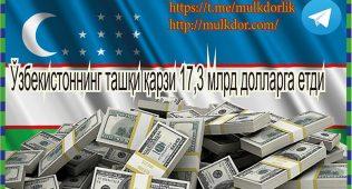 Ўзбекистоннинг ташқи қарзи 17,3 млрд долларга етди