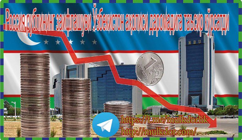 Россия рублининг заифлашуви Ўзбекистон аҳолиси даромадига таъсир кўрсатди