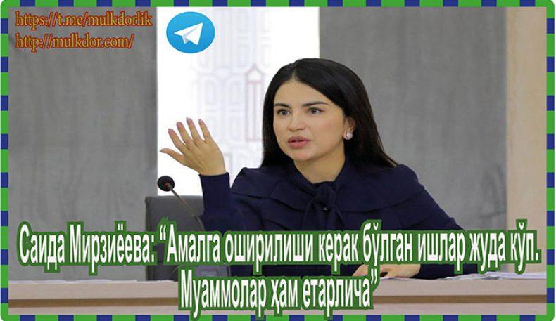 """Саида Мирзиёева: """"Амалга оширилиши керак бўлган ишлар жуда кўп. Муаммолар ҳам етарлича"""""""