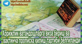 Хорижлик ватандошларга виза бериш ва вақтинча прописка қилиш тартиби белгиланди