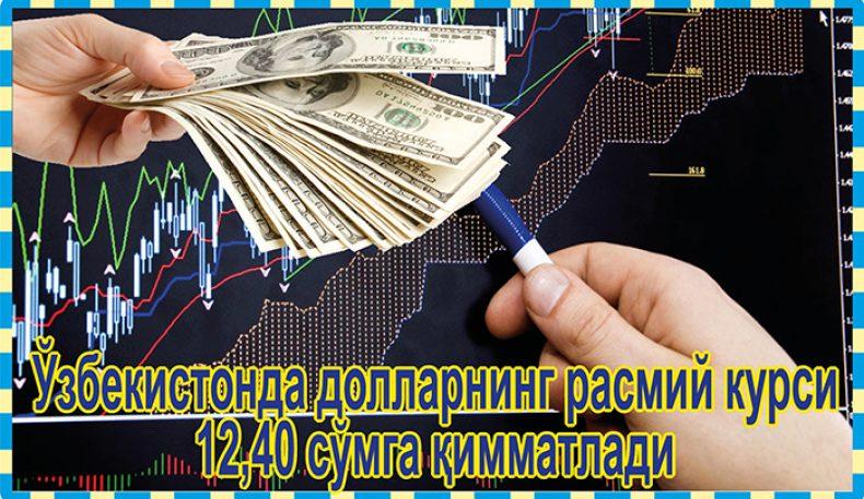 Ўзбекистонда долларнинг расмий курси 12,40 сўмга қимматлади