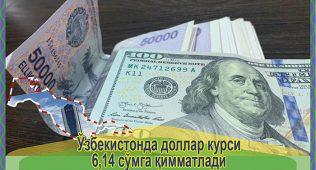 Ўзбекистонда доллар курси 6,14 сўмга қимматлади