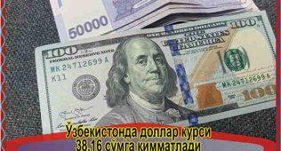 Ўзбекистонда доллар курси 38.16 сўмга қимматлади