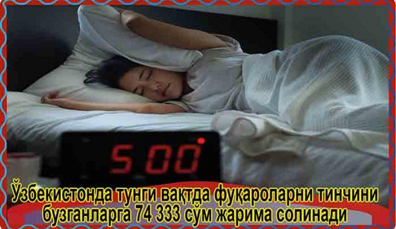 Ўзбекистонда тунги вақтда фуқароларни тинчини бузганларга 74 333 сўм жарима солинади