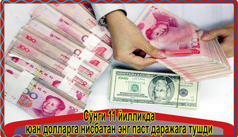 Сўнги 11 йилликда юан долларга нисбатан энг паст даражага тушди