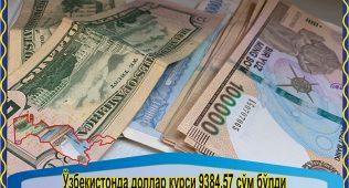 Ўзбекистонда доллар курси 9384,57сўм бўлди