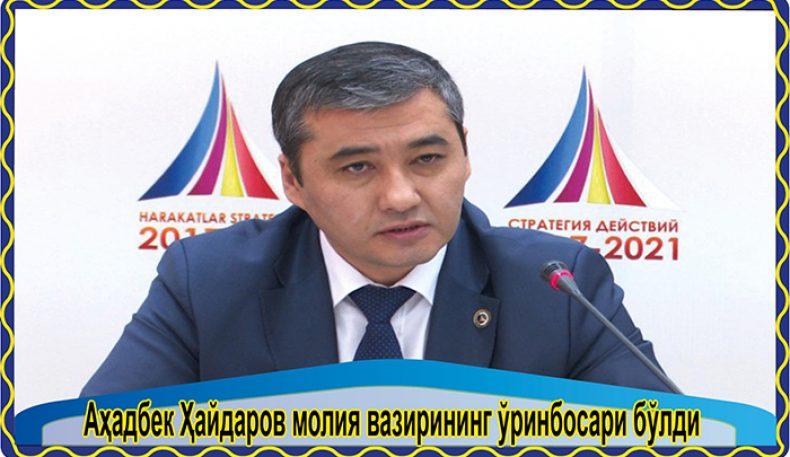 Аҳадбек Ҳайдаров молия вазирининг ўринбосари бўлди