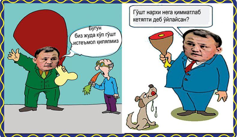 Карикатура:Бугун биз жуда кўп гўшт истеъмол қиляпмиз🍗🥩🥩